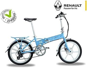 Bicicleta eléctrica plegable Renault azul – Batería: Li-Ion Samsung 24 V 8 Ah – Autonomía: 50 km – Peso: 19 kg sobre Amazon: Amazon.es: Deportes y aire libre
