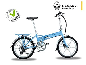 Bicicleta eléctrica plegable Renault azul - Batería: Li-Ion Samsung 24 V 8 Ah - Autonomía: 50 km - Peso: 19 kg sobre Amazon: Amazon.es: Deportes y aire ...