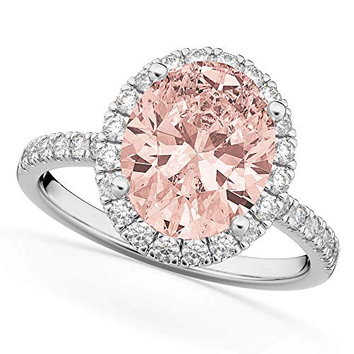 Silverstarking Halo Engagement Ring 2.75 CT Oval Cut Morganite & White CZ...