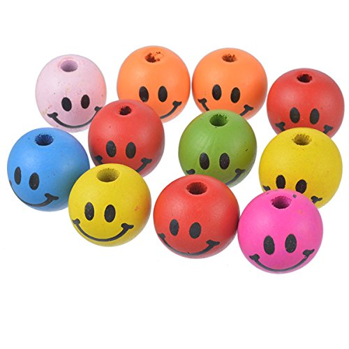 10PCS Mixed Smile Face Round Wood Beads Charm for DIY Craft Making Findings 24x22mm ()