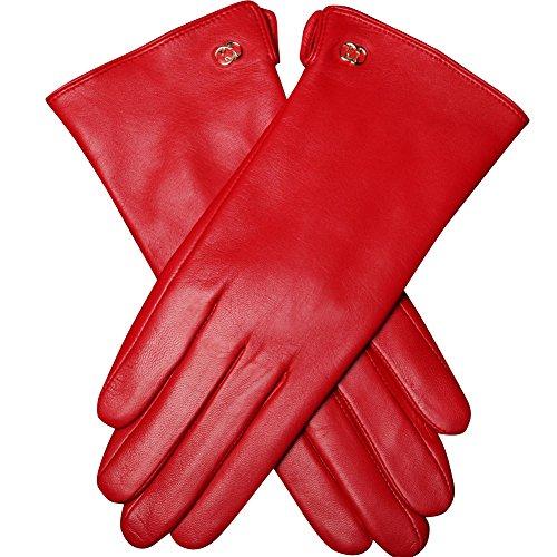 WARMEN Hände exzellent Winter warm Echtes Ziegenleder Gefüttert Damenhan dschuhe (7.5, Rot)