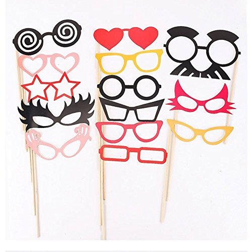 MAXMAXI 50 Pieces Photo Booth Props Party Favor for Wedding Party Graduation Birthdays Dress-up Accessories Costumes with Mustache, Hats, Glasses, Lips, Bowler, Bowties on Sticks