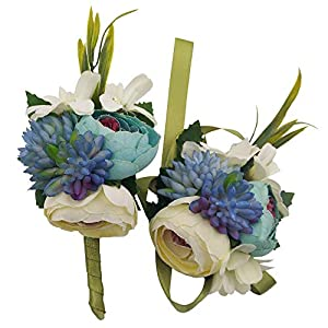 Evniset Wedding Ribbon Wrist Corsage Brooch Boutonniere Set Artificial Succulent Plant Party Wedding Decoration (Blue 2-Pack) 55