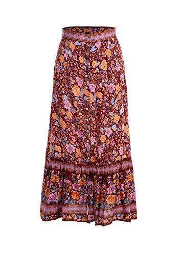 Womens Button Down Floral Printed Bohemian Midi Skirt Red L ()