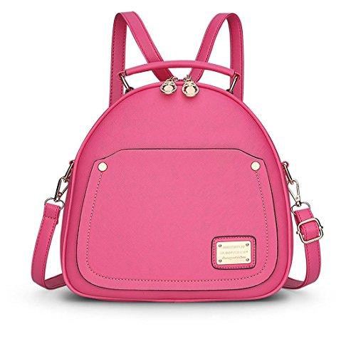 DEERWORD Mujer Bolsos mochila Bolsas escolares Bolsos bandolera Shoppers y bolsos de hombro Cuero de PU Rosa Roja