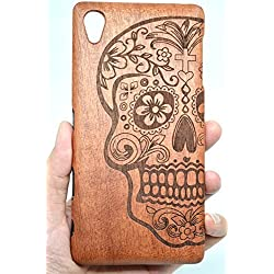 Sony Xperia Z5 Premium Wood Case ,PhantomSky[Luxury Series] Premium Quality Handmade Natural Wood Cover with Free Screen Protector for your Z5 Premium - Rose Wood Skull