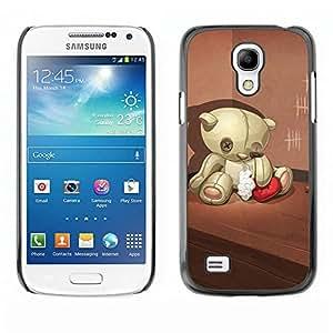 Caucho caso de Shell duro de la cubierta de accesorios de protección BY RAYDREAMMM - Samsung Galaxy S4 Mini i9190 MINI VERSION! - Teddy Bear Sad Lonely Broken Heart Red