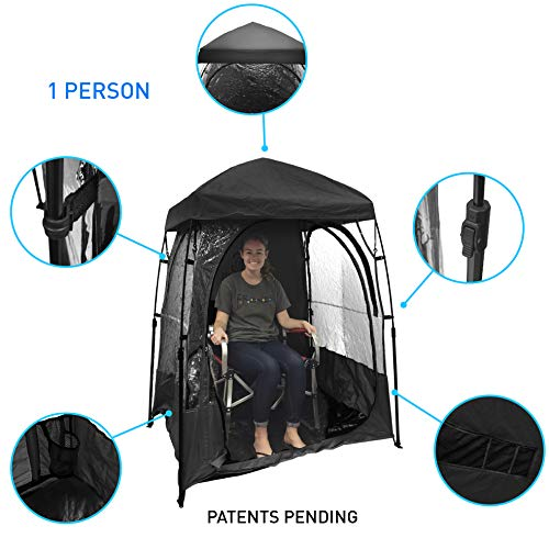 EasyGoProducts CoverU Sports Shelter - 1 Person Weather Tent Pod (Black) - New Larger Bag - Patents Pending (Tent Chair)