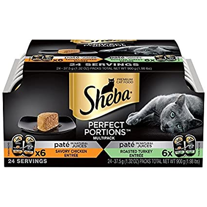 SHEBA PERFECT PORTIONS Multipack Chicken Entrée and Turkey Entrée Wet Cat Food 2.6 oz. (24 Twin Packs)