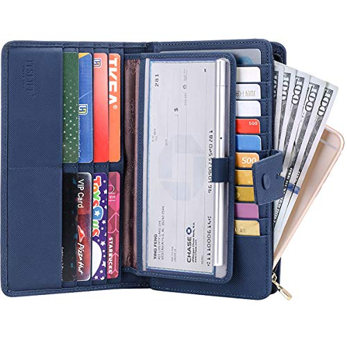Itslife Women's Big Fat Rfid Leather wallet clutch organizer checkbook holder (Stripe Blue)