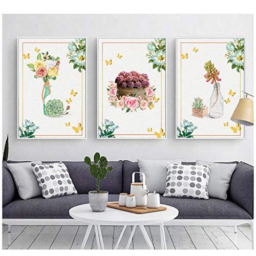 XIXISA 3 PCS Nordic Simple Tropical Plants Triple Decorative Paintings Spray Paintings Painted on Canvas 5070cm No Frame