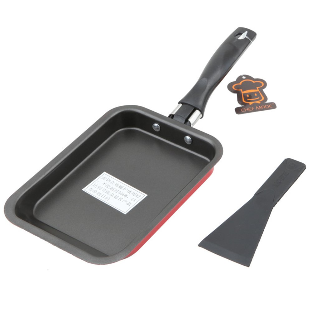 1PC Japanese Omelette Pan Frying Pan Nonstick Omelet Square Fry Pan Burning Cake Roll Egg Roll Pan Mini Sushi Omelette Pans 30.7 x 12.4 x 2.2cm(30.7X12.4X2.2cm,red) SYXZFZ
