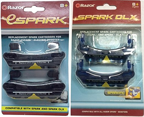 Set of 2 Razor Replacement Cartridges: eSpark & DLX for Spark DLX Flash Rider 360 Kick Part Scooter by Razor
