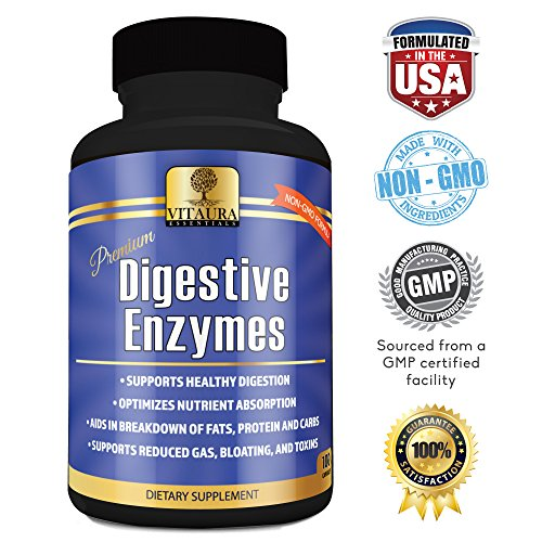 Digestive Enzyme Supplements by Vitaura NON-GMO Enzymes for Digestion Amylase, Protease, Lipase to Reduce Gas, Bloating, Toxins, Increase Energy and Aid Digestion of Fats, Proteins, Carbs 100 Capsules