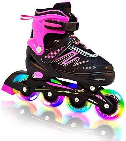 Hiboy Adjustable Inline Skates with All Light up Wheels, Outdoor Indoor Illuminating Roller Skates for Boys, Girls, Beginners