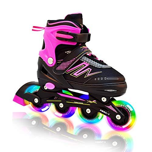 Hiboy Adjustable Inline Skates with All Light up Wheels, Outdoor & Indoor Illuminating Roller Skates for Boys, Girls, Beginners (Pink, Medium-2-5) ...