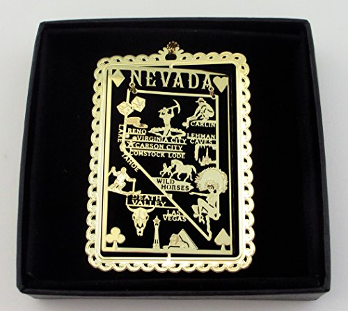 (Nevada State Brass Ornament Black Leatherette Gift Box )