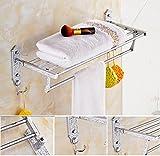 GL&G European luxury silver Bathroom Bath Towel Rack Double Towel Bar Wall Mount Bathroom Storage Organizer Shelf Bathroom Shelves Holder Towel Bars fold Towel Racks,6023.513.5cm