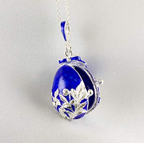 Blue Locket Sterling Silver Necklace for Women Guardian Angel Charm Guilloche Enamel Jewelry Protective Pendant - Sterling Guilloche
