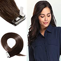 16 Inch 40pcs 100g Remy Tape in Hair Extensions Human Hair 02 Long Deep Color Straight Hair Seamless Skin Weft Invisible Double Sided Tape Dark Brown