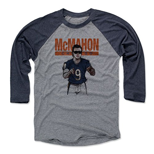 Jim Mcmahon Football - 500 LEVEL Jim McMahon Baseball Tee Shirt Large Navy/Heather Gray - Vintage Chicago Football Raglan Shirt - Jim McMahon Sketch B