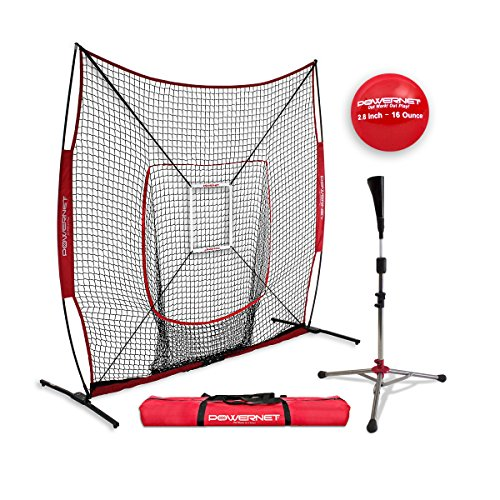 2 Piece 8' Throwing - PowerNet 8x8 XLP PRO Net One Piece Frame + Heavy Tee + Strike Zone + Weighted Training Ball | Huge Baseball Softball Hitting Pitching Area | Great for Teams | Batting Fielding Portable Backstop