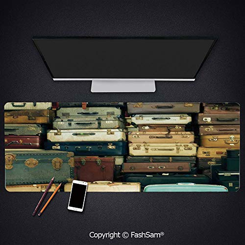 Antique Leather Suitcases - Desk Gaming Mouse Pad Non-Slip Colorful Vintage Suitcase Antique Leather Decorative Travel Gift Map Nostalgia Keyboard Pad for Office Desktop(W35.4xL15.7)
