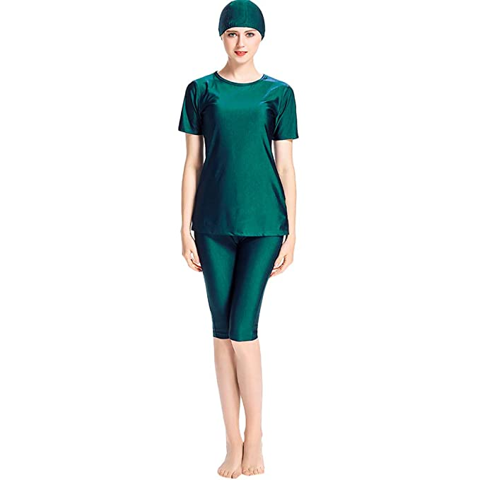 661e859bea8 Saymi Muslim Swimsuits for Women Full Coverage Modest Islamic Swimwear  Swimming Costume Surfing Green