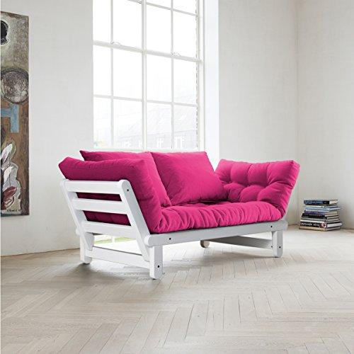 Amazon.com: Fresh Futon Beat Convertible Futon Sofa/Bed, White Frame ...