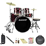 Ludwig Accent Fuse 5-Pc Fusion Size Drum Set with Beginner Cymbals & ChromaCast Accessories, Wine Red Sparkle