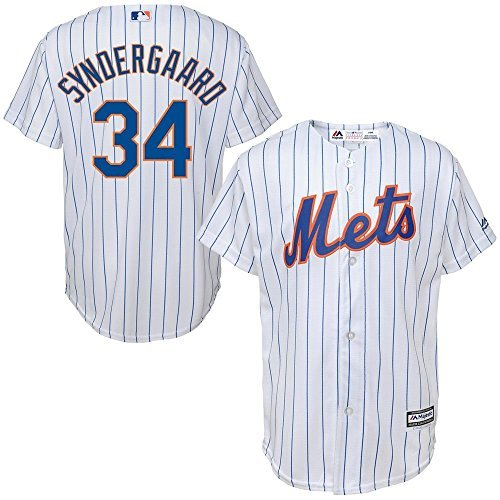 Majestic Noah Syndergaard New York Mets MLB Youth White Home Cool Base Replica Jersey (Size Small 8)