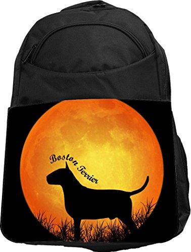 Rikki Knight UKBK Boston Terrier Dog Silhouette By Moon Tech BackPack - (Boston Monogram)