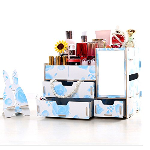 [Osierl Home Office Beauty Makeup Storage Boxes Drawer Cosmetic Organizer with Mirror] (Third Leg Costume)