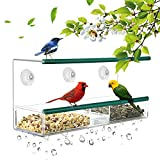 Kamileo Bird Feeder, Window Bird Feeder Squirrel Proof with Dual Rubber Perch, Self-Draining Tray and Suction Cups, In-house Birding Entertainment for Bird Lovers Kids & Pets (2018 New Model)
