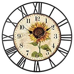 EnjoyHome Countryside Sunflower Decorative Metal Clock with Roman Numers Silent Non-Ticking Large Clock 16 Inches