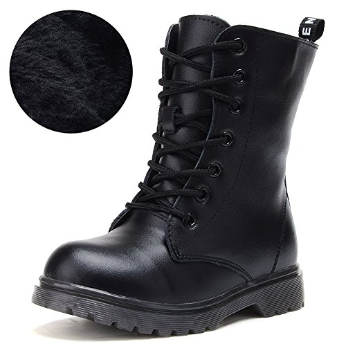 UBELLA Kids Boys Girls Black Leather High Top Zipper Lace-Up Martin Boots Combat Riding -