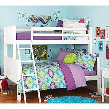 Com Your Zone Zzz Collection Twin Over Full Bunk Bed White Kitchen Dining