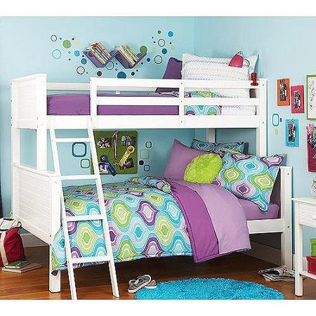 Your Zone Zzz Collection Twin Over Full Bunk Bed White