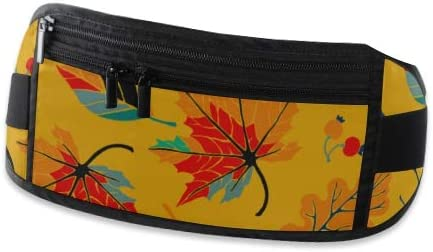 Travel Waist Pack,travel Pocket With Adjustable Belt Autumn Leaves Cartoon Style Pattern Running Lumbar Pack For Travel Outdoor Sports Walking
