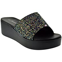 Forever Link Campus Womens Slip On Raised Platform Sandals