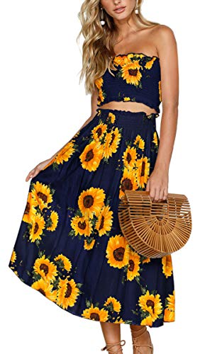 Angashion Women's Floral Crop Top Maxi Skirt Set 2 Piece Outfit Dress Navy Blue S (Two Piece Maxi Skirt And Crop Top)