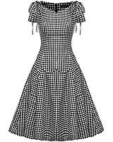 ACEVOG Women's Vintage 1950s Style Cap Sleeve Flare A-line Dress