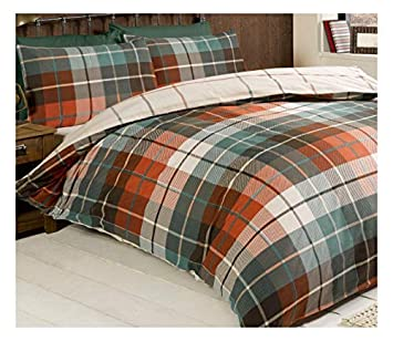Tartan Check Terracotta Teal Brushed Cotton King Size Duvet Cover