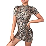 ZOMUSAR 2019 Fashion Women Turtleneck Short Sleeve Leopard Snake Print Bodycon Mini Dress Gray