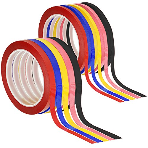 SENHAI 10 PCS Graphic Chart Tapes, 1/8 inch & 1/4 inch Width Whiteboard Grid Art Tapes Self-Adhesive Gridding Chart Masking Tapes - Black, Red, Blue, Pink, Light Yellow
