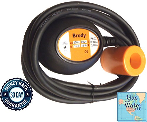 BRODY Float Switch Water Level Control Sensor with 10' (Piggyback Float Switch)