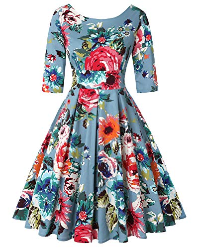 MINTLIMIT Women's 1950s Halloween Retro Dress A-Line Short Sleeves Cocktail Swing Party Vintage Casual Dress (Floral Blue,Size XXL)]()