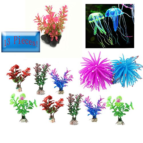 Green Joy 13 Pcs-Aquarium Decorations Decor Coral Jellyfish Ornament Artificial Aquatic Plants Plastic Plants by Green Joy