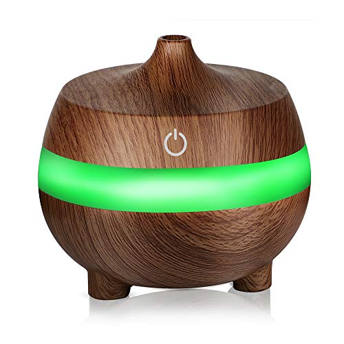 SHMB 300ml Wood Grain humidifier USB ultrasonic Portable Essential Oil Aroma Diffuser, 7 Color LED Light air Purifier, no Water Automatic Shutdown, Suitable for car, Home, etc,Brown