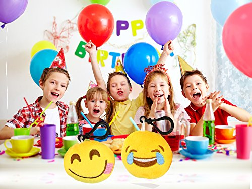 "Dreampark Emoji Keychain Mini Cute Plush Pillows, Key Chain Decorations, Kids Party Supplies Favors, 2"" Set of 25"